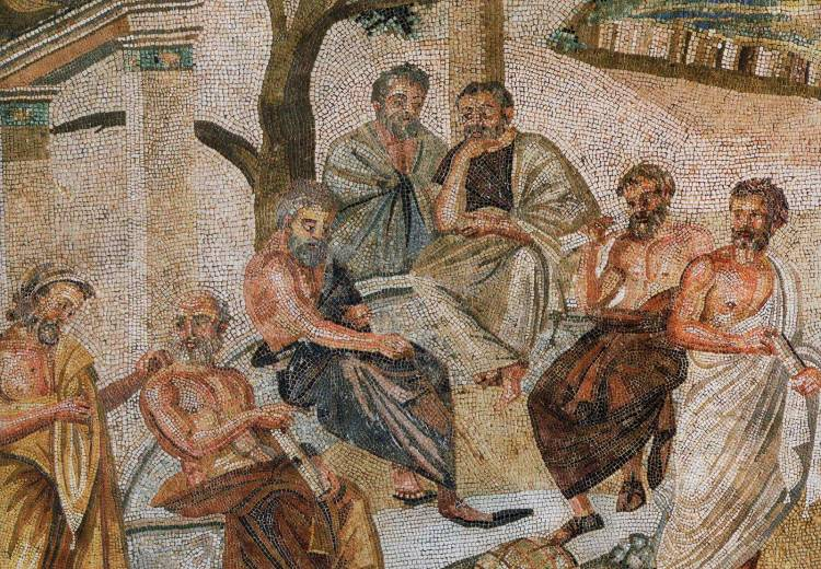 Make philosophy, not war:  A mosaic of Plato's Academy, from Pompeii.